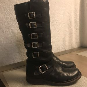 Black knee high Frye boots with buckles like new